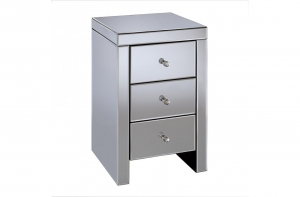 Florence 3 Drawer Mirrored Bedside