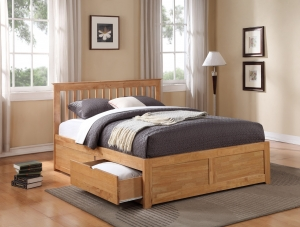 Paris Oak Bedstead With Drawers