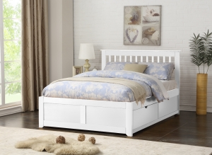 Paris White Bedstead With Drawers